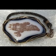 Ship Fused Glass Bracelet #0115-S-Br1