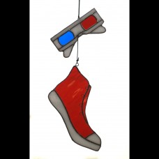 3D Glasses and Red Sneaker/Trainer Stained Glass Sun Catcher
