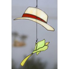 Hat and Celery Stained Glass Sun Catcher