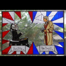 Peter Davison/Terry Molloy ORIGINAL AUTOGRAPHS Stained Glass Panel (SOLD, Custom Orders Available)